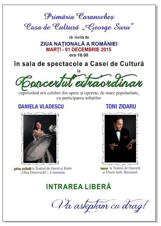 Afis concert 1 Decembrie