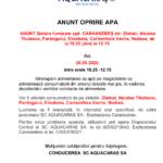 Anunt Aquacaras  – Oprire apa in Caransebes